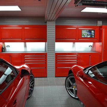 Ferrari and Porsche garage