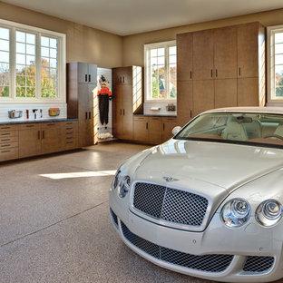 Inspiration för en mellanstor funkis tillbyggd tvåbils garage och förråd