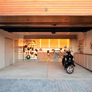Design ideas for a contemporary two-car garage in New York.