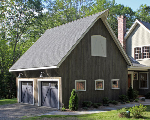 Example Of A Country Attached Two Car Garage Design In New York