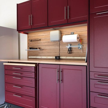 Garage Makeover- New Burgundy cabinets with the maple counter