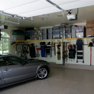 Garage - mid-sized transitional two-car garage idea in Atlanta