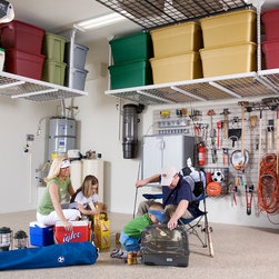 Garage Organization - Take back your Garage space by installing overhead garage storage racks and slat wall with hooks. Transform your garage with beautiful epoxy flooring.