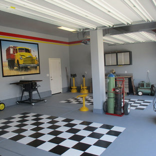 Garage Workshop   Large Contemporary Attached Three Car Garage Workshop  Idea In Austin