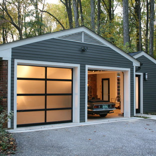 Mid-sized modern detached two-car garage in Baltimore.