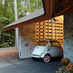 Carport - eclectic one-car carport idea in Boston