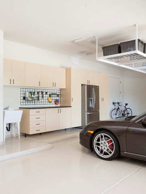 Large Trendy Attached Garage Photo In Charleston