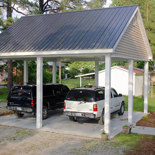 This is an example of a mid-sized traditional detached two-car carport in Raleigh.