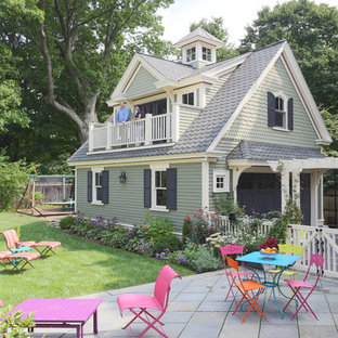 Mid-sized victorian detached two-car garage in Boston.