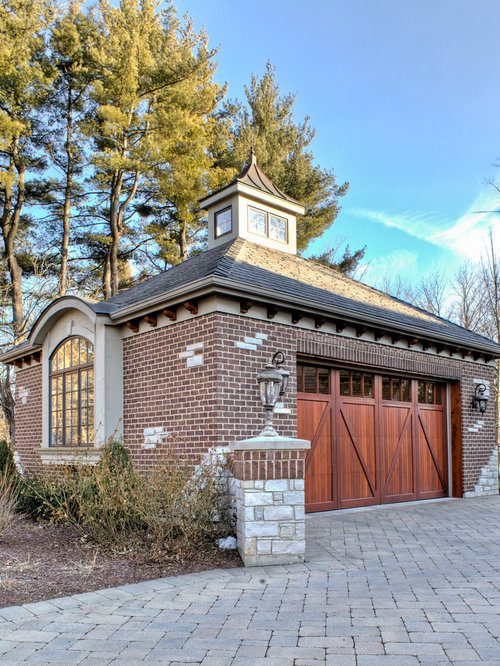 Brick garage houzz for Traditional garage