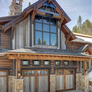 Design ideas for a rustic double garage in Denver.