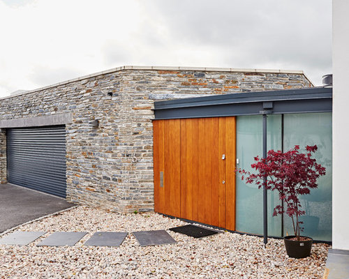this is an example of a large modern attached single garage in devon - Garage Design Ideas