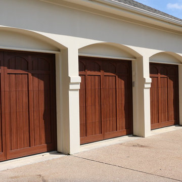 High-lifted, wood-free overhead garage doors with car lift