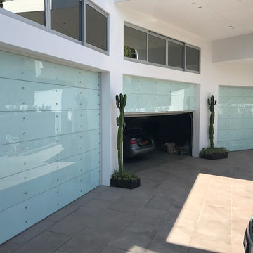 Hollywood Hills custom commercial glass roll up garage doors