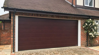 Hormann LPU42 M-Ribbed, Sectional Garage Door finish in a Rosewood Decograin