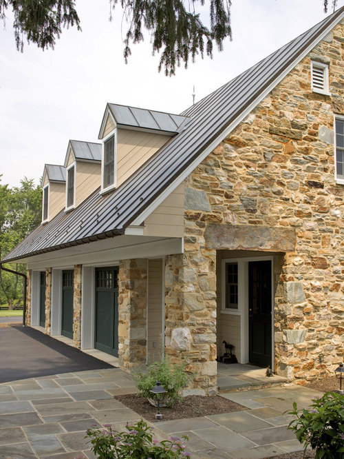 Metal roofing brick home houzz for Metal roof pictures brick house