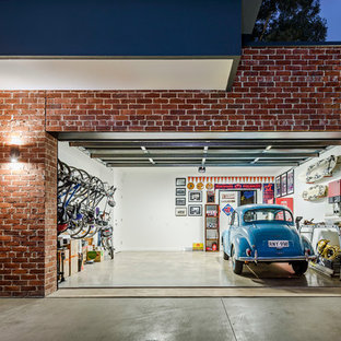 Contemporary attached two-car garage in Adelaide.