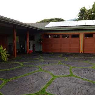This is an example of a tropical two-car garage in Hawaii.