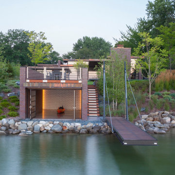 Lac La Belle - Modern Brick Lake Home with Dock and Boathouse