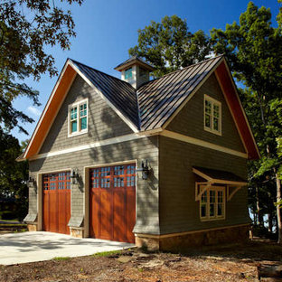 This is an example of a traditional detached two-car boathouse in Charleston.