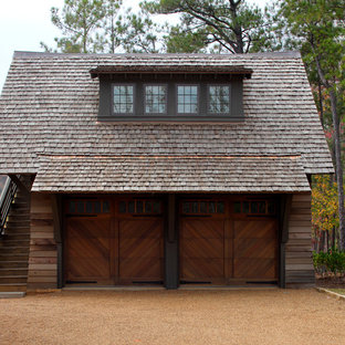 Coastal detached two-car garage photo in Other