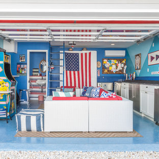 Example of a mid-sized coastal two-car garage workshop design in New York