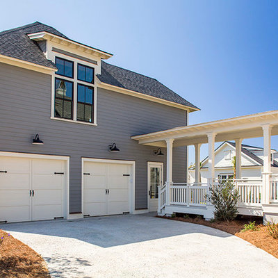 Garage - large coastal detached two-car garage idea in Charleston