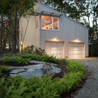 Garage workshop - mid-sized contemporary detached two-car garage workshop idea in Portland Maine