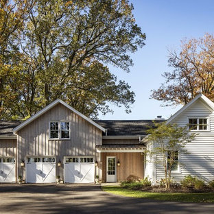 Inspiration for a country detached three-car garage remodel in Baltimore