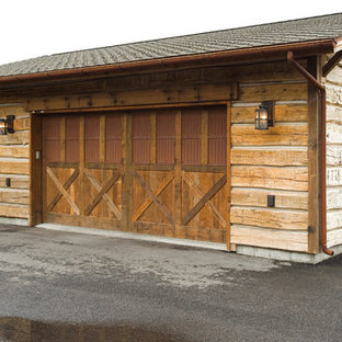 Example of a mid-sized mountain style detached two-car garage design in Other
