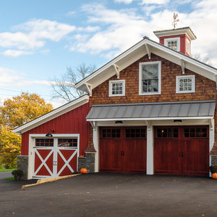 Large country garage photo in New York