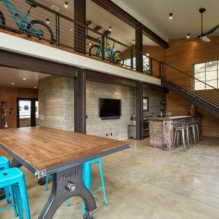 Example of a large mountain style detached garage workshop design in Denver