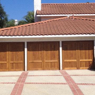 Mediterranean Spanish Contemporary Wood Custom Garage Doors