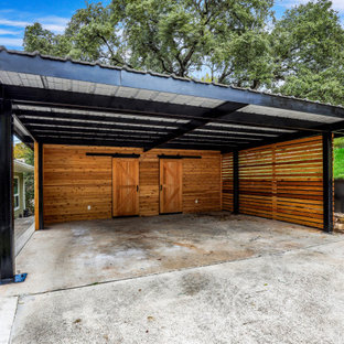 This is an example of a large contemporary detached two-car carport in Austin.