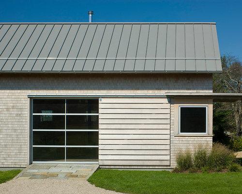 Charcoal gray metal barn siding houzz for Modern shed siding