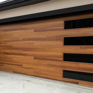 Modern Resdiential Garage Door Installation-Faux Wood Door