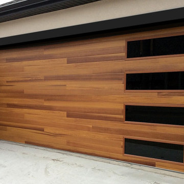 Modern Resdiential Garage Door Installation-Faux Wood Door