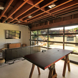 Large eclectic attached two-car porte cochere photo in San Diego