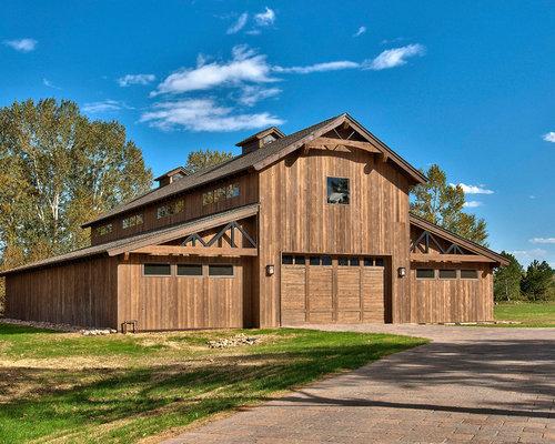 Barn garage houzz for Barn shaped garage