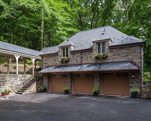 Garage overhang houzz for House plans with underground garage