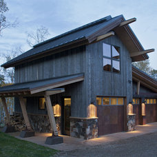 Rustic Garage And Shed by Kelly & Stone Architects