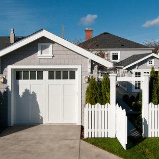 Ispirazione per un garage per un'auto indipendente stile americano di medie dimensioni con ufficio, studio o laboratorio