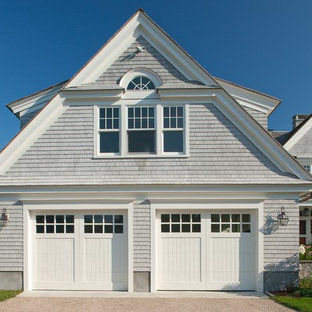 Large ornate attached two-car garage photo in Boston