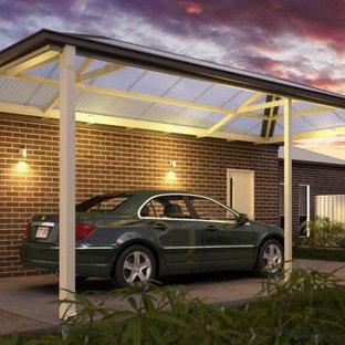 Small contemporary attached one-car carport in Brisbane.