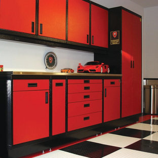 Portola Valley Steel Cabinets & Epoxy Checker Board Floor