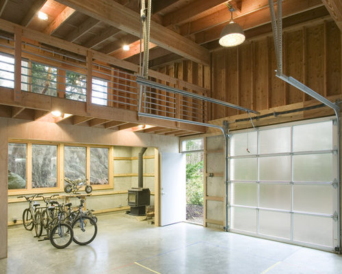 Garage loft houzz for Lofted garage