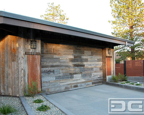 Reclaimed Wood Garage Doors For A Modern Industrial Home In Northern
