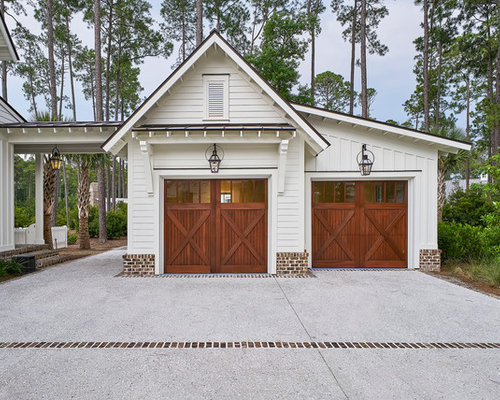 Detached garage design ideas remodels photos for How big is two car garage