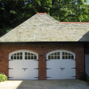 Large classic attached double carport in London.