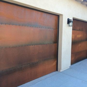 Rustic Steel Patina Garage Doors